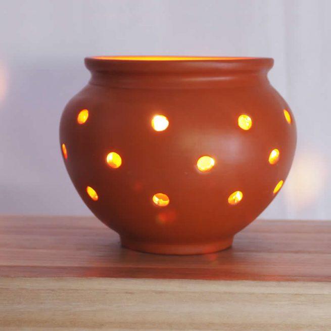 Terracotta Earthen Cultural Candle Pot 14.5 - GARBI