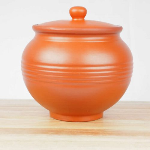 Terracotta Earthen Curry Rice Yogurt Pot 14.5 with Lid - Set of 2 Pots