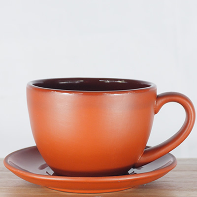 Terracotta Earthen Tea Cup & Saucer